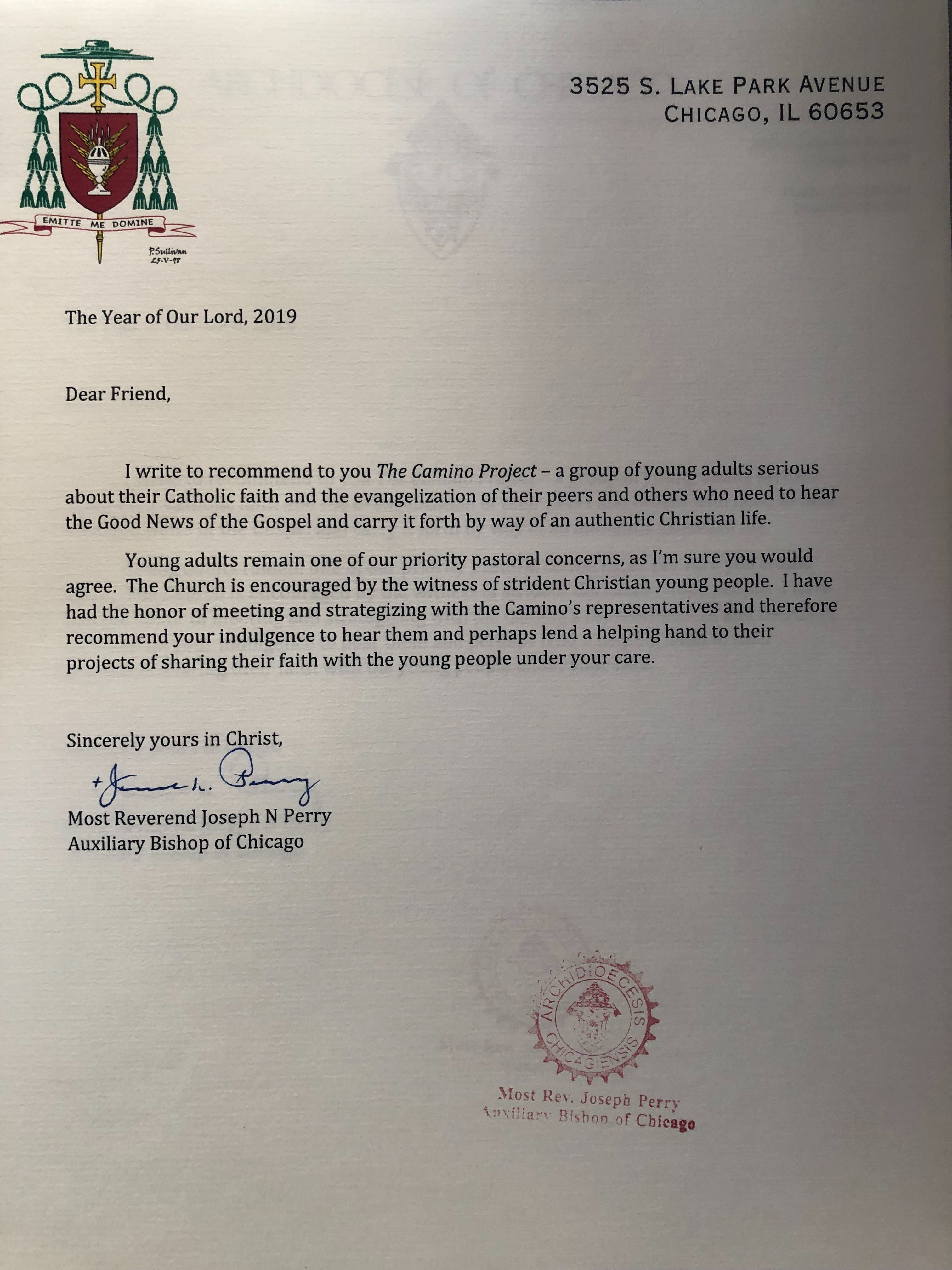 Bishop Perry's 2019 Recommendation Letter